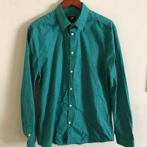 H&M L slim fit button-down dress shirt teal